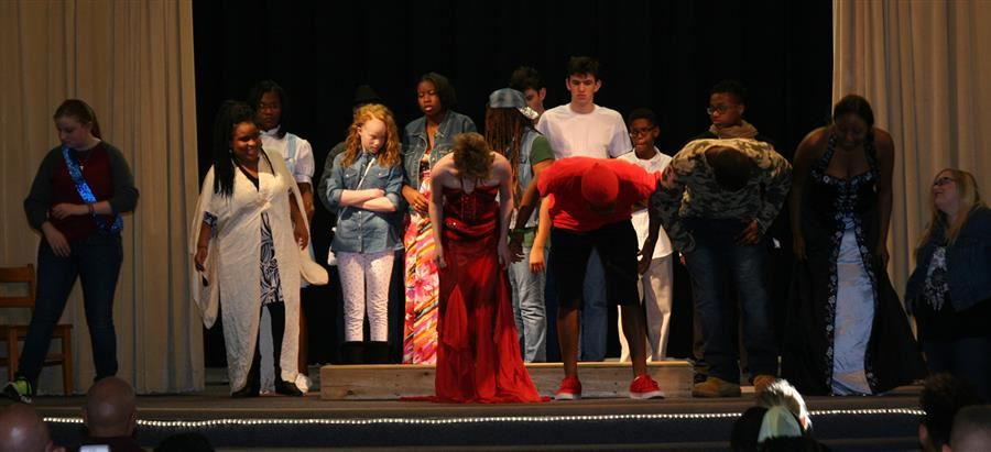 Student performers take a bow at the conclusion of Jack and the Bean Stalk