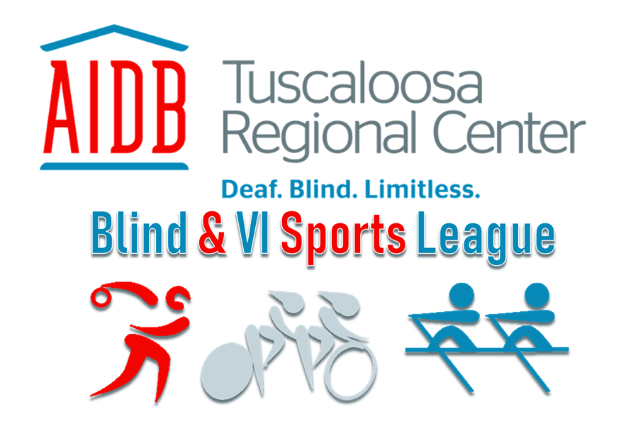 AIDB Tuscaloosa Blind & VI Sports League logo, which reads AIDB in red with blue house outline, Tuscaloosa Regional Center in