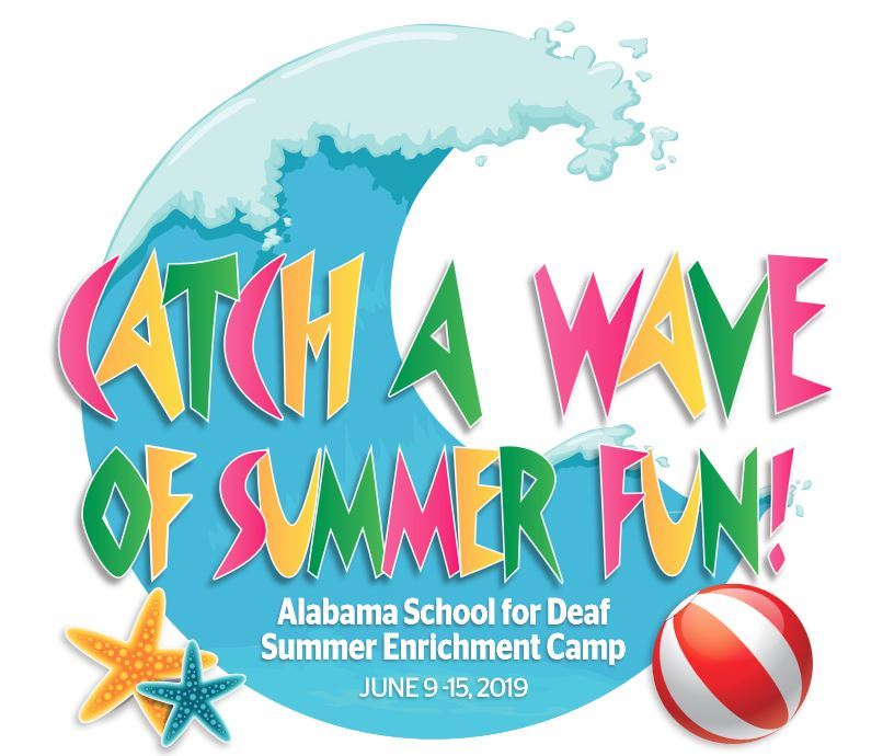 ASD camp logo of a wave with starfish